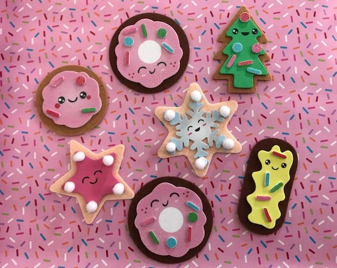 Christmas Ornaments, Set of 6, Felt Christmas Cookie Ornaments