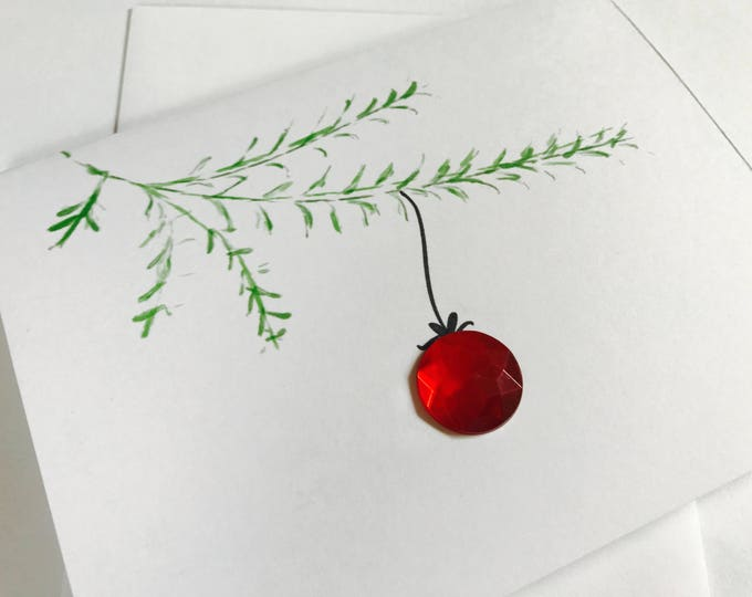 Elegant Christmas Card Set of Three, Made on Recycled Paper, comes with envelope and seal
