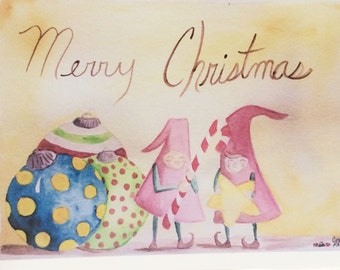 Christmas Elf Card, Whimsical Christmas Elves Card, my watercolor, made on recycled paper, comes with envelope and seal.