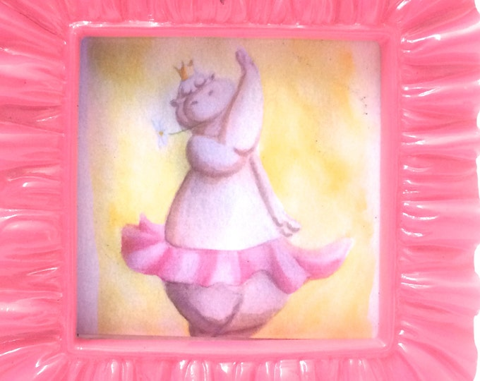 Mini Art, Dancing Hippo Art, in Pink Frame, 3 x 3, Tiny print of my watercolor art measures 2.2 inches x 2 x 2 inches