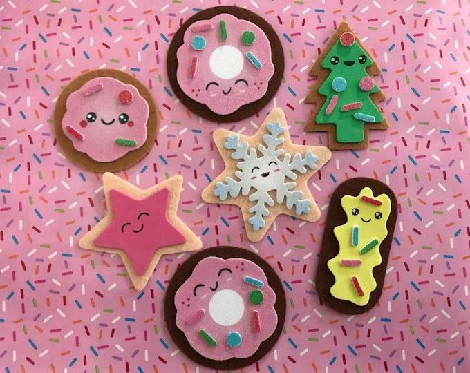 Tea Time Felt Cookie Play Set, Set of Seven Felt Cookies