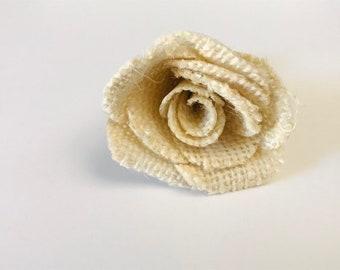 """Dog Collar Flower, Rose Bud,  Flower for Collar, 1 1/2"""" Beige Burlap Flower for Collar, Dogs or cats"""