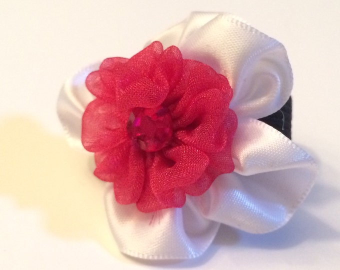 "1 3/4"" Small Dark Pink Satin Collar Flower for small Breed Dog, Cat, Ferret or Bunny Rabbit"