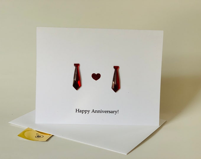 Gay anniversary Card, With Two Neck Ties, hand drawn, gay anniversary cards, made on recycled paper, comes with envelope and seal