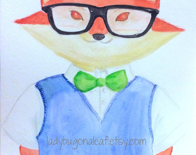 Animal Art, Fox Art, Dapper Fox, Print or Postcard of my watercolor, Animal Painting, Fox Painting, Childrens Art or Nursery Decor
