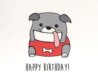 Bulldog Birthday Card, Birthday Card from the Dog, made on recycled paper, comes with envelope and seal