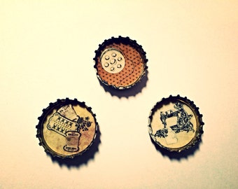 Sewing Magnets, Mothers Day Gift, Set of three vintage style Sewing themed  upcycled bottle cap magnets in coffee brown and creamy beige