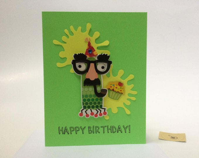 Monster Birthday Card, Little Monster Birthday Card,  Birthday Card for Boys, made on recycled paper, comes with envelope and seal