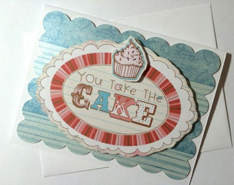 Happy Birthday Card, Hope Your Day is Sweet, Dimensional Card with Cupcake made on recycled paper, comes with envelope and seal