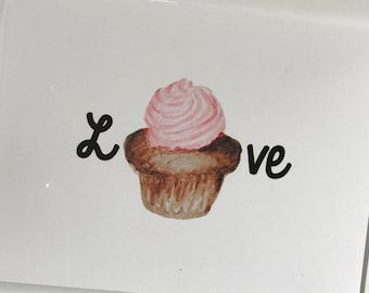 I love you more than cupcakes, cupcake card,  watercolor card, anniversary card, love card, recycled paper, comes with envelope and seal