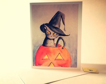 Hissy Halloween, black cat watercolor card, made on recycled paper, comes with envelope and seal