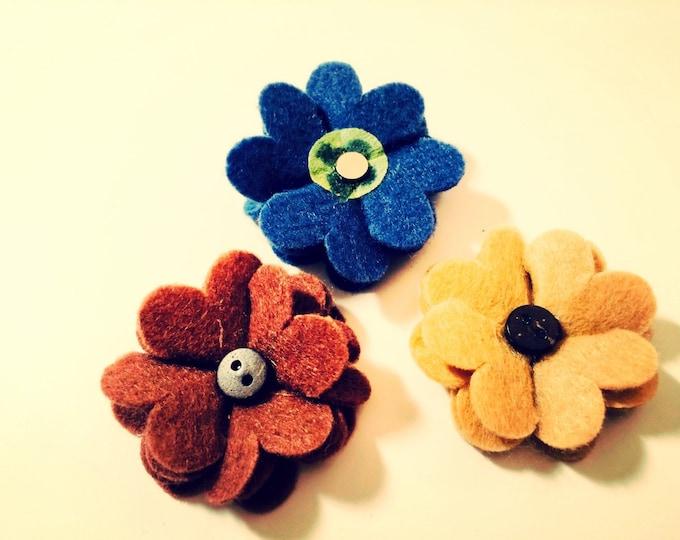 Flower Magnets, Set of Three Felt Flower Super Strong Magnets Locker or Fridge Decoration