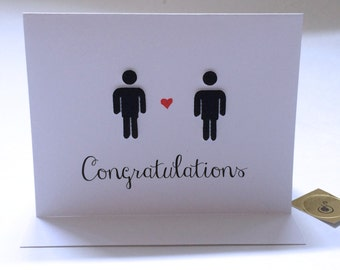 Gay Wedding Card, Gay Marriage Card, With Two Men, made on recycled paper, comes with envelope and seal