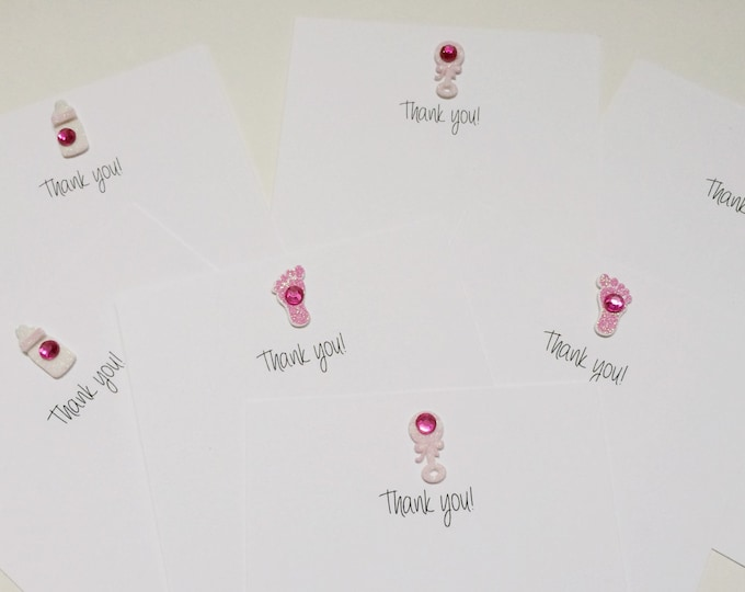 Thank you Cards, Baby Thank you Cards, Set of 7 Baby Shower Thank You Cards, made on recycled paper, comes with envelopes and seals