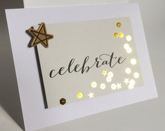 Engagement Card, Elegant Engagement card with gold embellishment, Celebrate,  made on recycled paper comes with envelope and seal