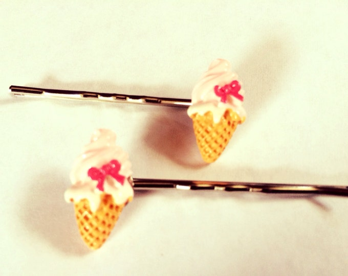 Ice cream cone bobby hair pins with pink bow, miniature food, kawaii, geekery, sweet treat