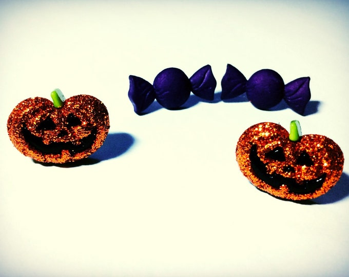 Halloween Earrings, Goth Earrings with Jack O Lantern,  Purple Candy, hypoallergenic available, orecchini, pendientes, boucles d'oreilles