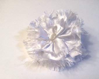White Collar Flower, Large Satin for large dog breed,  5 inch, wedding accessory, para perros, boda