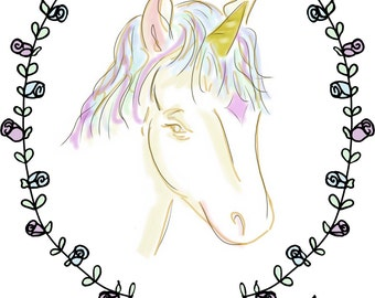 Unicorn Birthday Card, Hope Your Birthday Is Magical, made on recycled paper, comes with envelope and seal