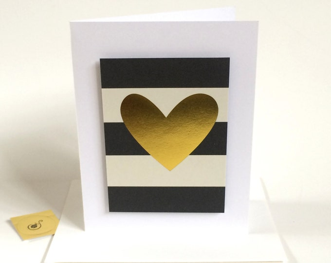 I love you, That is all, Anniversary Card, elegant, gold embellished made on recycled paper, comes with envelope and seal