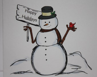 Christmas Card, Happy Holidays Snowman and Cardinal drawing Card comes with envelope and seal made on recycled paper