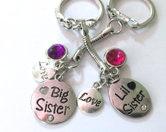 Big Sister, Little Sister Keychain, set of two, Sisters Keychain, each comes with three charms