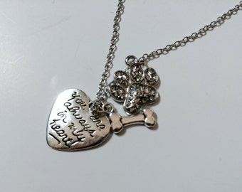 Dog Memorial, Always In My Heart, Dog Memoriam Necklace for Loss of Dog
