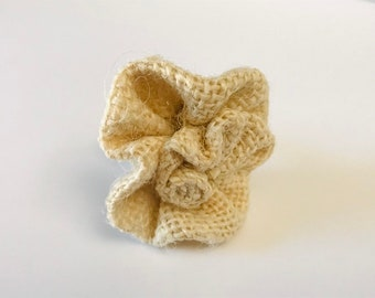 """Small Dog Collar Flower, Rose,  Flower for Collar,  1 3/4""""  Beige Burlap Flower for Collar, Dogs or cats, Country Dog, Rustic Dog"""