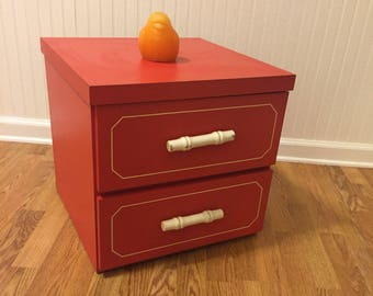 ORANGE NEVAMAR NIGHTSTAND, End Table,  Faux Bamboo Handles, Campaign Chest, 1970's, Formica, Mid Century Modern at Modern Logic