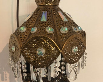 Aged 35x20mm Solid Brass Priced per Piece Filigree Chandelier Drop Antiqued Stamping VINTAGE