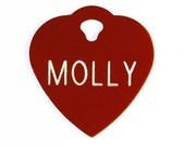 Pet Tag Personalized on Two-Sided Small Heart in 10 Colors