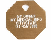 Pet Tag Personalized on Two-Sided Large Octagon in 10 Colors