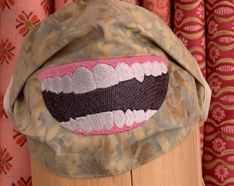 cheeky Big mouth with teeth laughing embroidered adult face mask, washable face mask, cotton mask, mask with ties, protective mask
