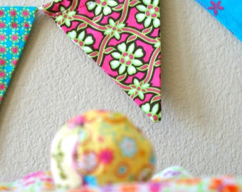 Funky Fabric Garland Bunting Banner Pennants Flags In Lime Green Hot Pink Purple and Turquoise by InYourBones