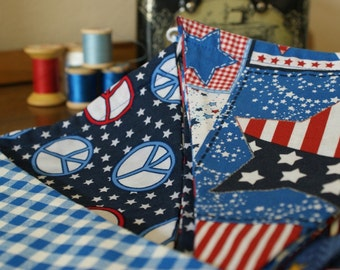 Outdoor American Flag Bunting Banner, Flags, Party Pennants, Reusable Party Decorations