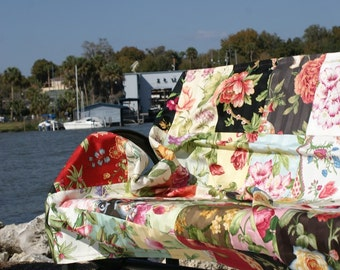 Upholstery Patchwork Picnic and Beach Blanket  with Peonies Roses and other Flowers Denim backing by InYourBones