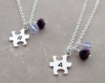 BEST FRIENDS NECKLACE Set, Stamped Jewelry, Set of two matching necklaces, jewelry sets, best friend gift, animal rescue, puzzle necklace