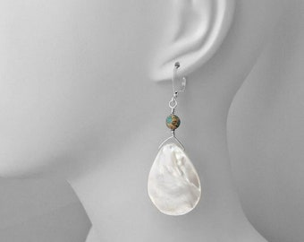 Big Earrings, Statement Jewelry, Mother of Pearl, Under 30 Dollars, Sterling Silver, Lever Back Earrings, Dangle Earrings, Choice of Colors