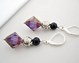 Purple Earrings, Sparkly, Pretty Jewelry, Ornate and Colorful, Celebrity Style Jewelry, Birthday Gift, Leverback, I Love My Dog Jewelry