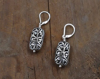 FILIGREE EARRINGS, Personalized Jewelry, custom jewelry, nickel free jewelry, unique jewelry, gifts for her, I Love My Dog Jewelry, Causes