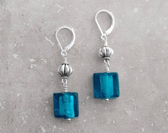 TEAL EARRINGS, Murano Glass Earrings, Venetian Glass Jewelry, Unique Jewelry, Under 20 Dollars, Stylish Gifts, Teal, Nickel Free Jewelry