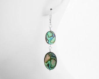 Charitable Gifts, Gift for Girlfriend, USA, Abalone Earrings, Under 30 Dollars, Abalone Jewelry, Lever back Earrings, Nickel Free Earrings