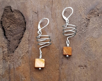 Jewelry, Earrings, Dangle & Drop Earrings, Nickel Free Earrings, Corkscrew Earrings, Spiral Earrings, Modern Jewelry, Animal Rescue, Love