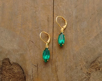 Vintage, Gold, Green, Emerald Drop Earrings, Art Deco Design, Hollywood Glamour, Vintage Faceted Glass, Animal Rescue, Gold and Green