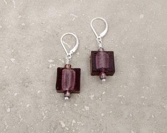 PURPLE EARRINGS, Murano Glass Earrings, Murano Jewelry, Nickel Free Leverback, Special Gift, Fashionable Gifts, ilovemydogjewelry