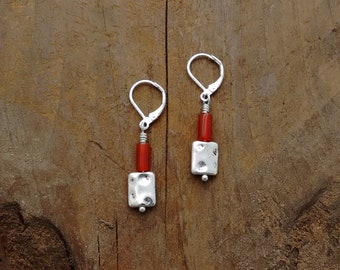 Red Agate, Lightweight Earrings, Hammered Silver, Sundance Style Jewelry, Animal Rescue, Natural Gemstones, Energy, Healing, Power