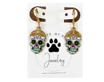 Sugar Skulls, Skull Earrings, Skull Jewelry, Day of the Dead, el Día de los Muertos, Folk Art, Skeletons, Halloween Gifts, Gothic Jewelry