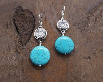 Druzy Earrings, Turquoise Earrings, Turquoise Jewelry, Turquoise Howlite, Howlite Earrings, Nickel Free Jewelry, Hypoallergenic Earrings