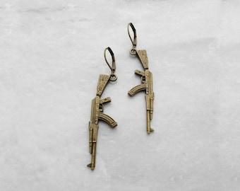 Machine Gun, Earrings, Celebrity Style, Zombie Apocalypse, Military Jewelry, Kitsch, Avant-Garde, Campy, Urban Hip Hop, Gangsta