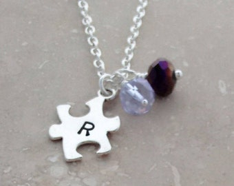 Autism Awareness, Puzzle Piece Symbol, Meaningful Gifts, Autism Speaks, Charitable Gift, Autism Necklace, Silver Jewelry, Stamped Jewelry